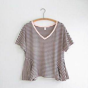 Urban Outfitters BP pink black striped swing tee